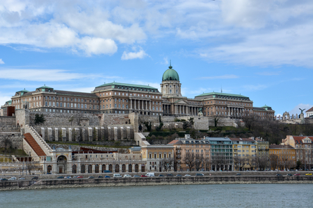The Royal Palace at the river Danube in Budapest with blue sky Stock Photo