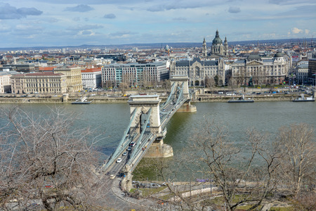 View on Chain Bridge in Budapest with the river Danube from the palace with blue sky Stock Photo