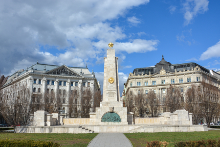The Soviet war memorial in the Freedom Square in Budapest Editorial