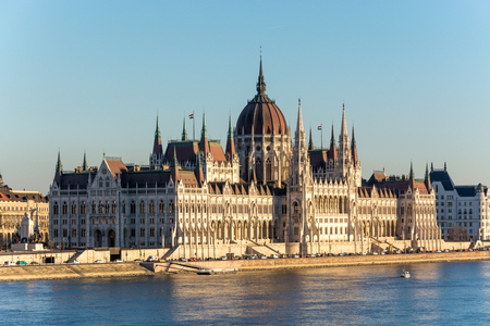 The famous Budapest parliament at the river Danube during sunset from the side