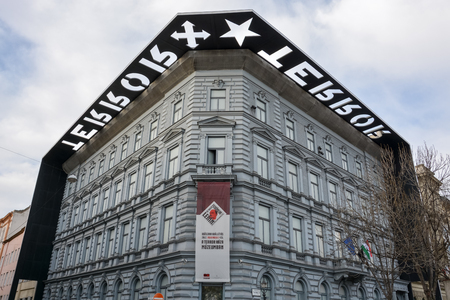 The facade of the museum House of Terror in Budapest, Hungary