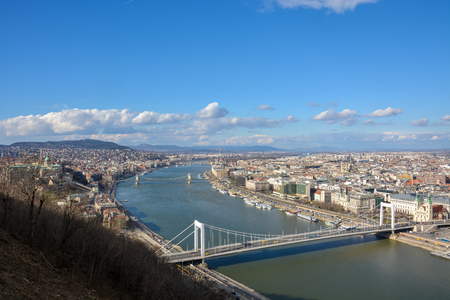Great view of Budapest and the river Danube from the citadel with blue sky Stock Photo