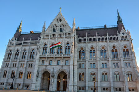 The Budapest parliament and a statue from the side with blue sky