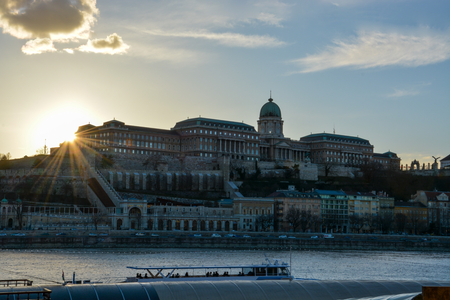 The Royal Palace at the river Danube in Budapest during sunset Editorial