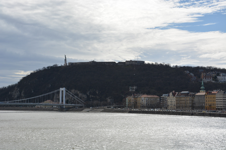 The Citadel monument on Gellert hill in Budapest and the river Danube, Hungary