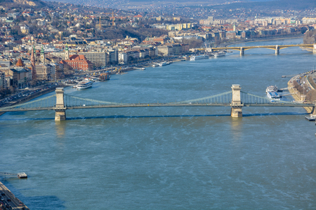 Great view of Chain Bridge and the river Danube from the citadel with blue sky Stock Photo