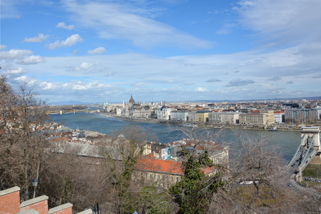 View on Budapest with the river Danube from the palace with blue sky