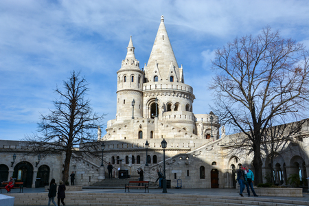 BUDAPEST, HUNGARY - MARCH 12, 2018: The Fishermans bastion in Budapest with blue sky Editorial