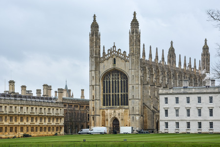 The Kings College building in Cambridge with cloudy sky Editorial