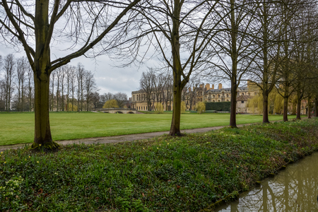 The Kings College grounds in Cambridge with cloudy sky