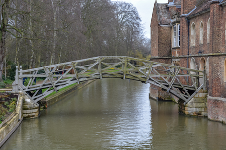 The old mathematical bridge in Cambridge, England with cloudy sky Stock Photo