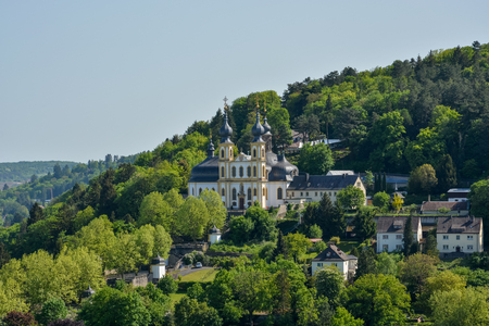 The pilgrimage church Kaeppele on a hill in Wuerzburg close up on a sunny day