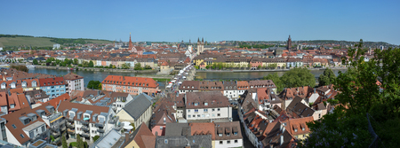 Panorama aerial view on Wuerzburg with the alte Mainbruecke on a sunny day and blue sky