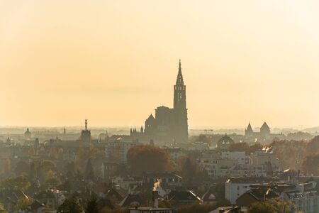 The cathedral Notre Dame in Strassbourg in France during sunset