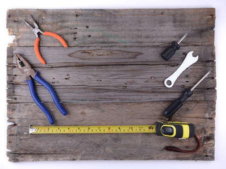 hardware: Hardware tools on wooden background