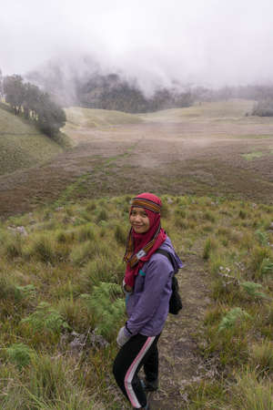 woman in semeru savana