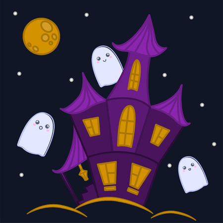 Haunted house with ghosts, halloween design illustration. Illustration