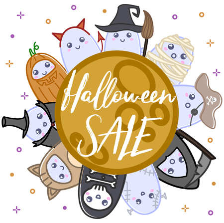Cute ghosts in costumes design illustration on a white backdrop.