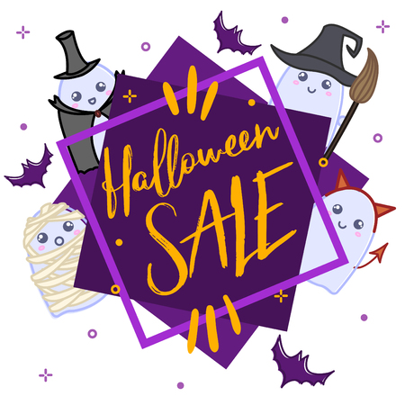 Cute ghosts in costumes, halloween design illustration on a white backdrop