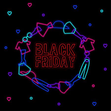 Neon circle black friday and clothes Иллюстрация