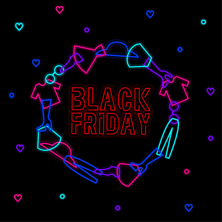 Neon circle black friday and clothes Illustration