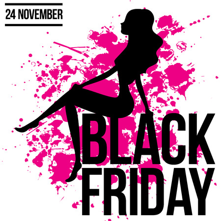 broadsheet: Black friday woman silhouette sit on the text