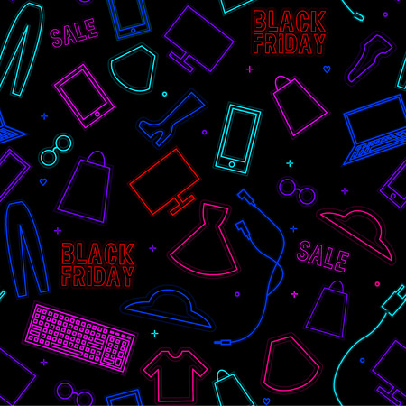 Black friday neon pattern with technics, clothes and sale