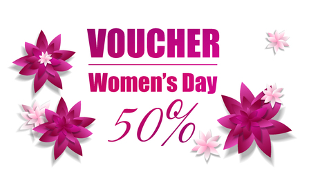 Gift certificate with pink papercut flowers on Women s day