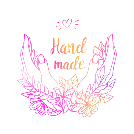 Gradient lettering logo hand made isolated design on white