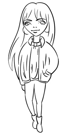 Glamour fashionable pretty girl with bangs in jacket and skinny jeans outline illustration.