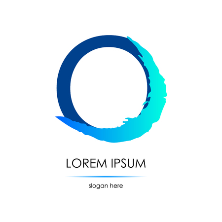 Letter O logo. Smear of a brush. Blue on the white background