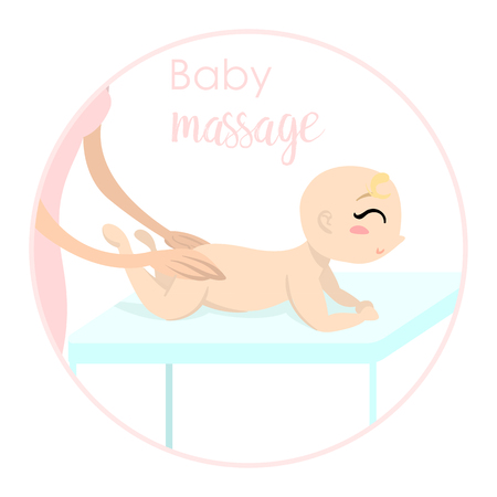 Baby massage for children. Flat isolated vector illustration. Logo. The girl lies on the table.