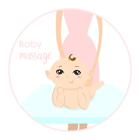 Baby massage for children. Flat isolated vector illustration. Logo. The boy lies on the table.