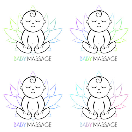 A Logo baby and lotus isolated on the white background. The child is sitting. Illustration
