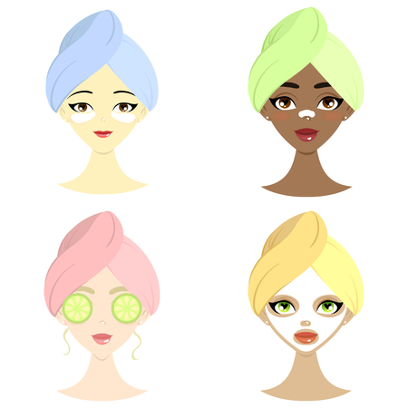 Spa set of beautiful women of different nation with mask, hydrogel eye patch, cucumber and mask for nos. Isolated vector illustration. Ilustração