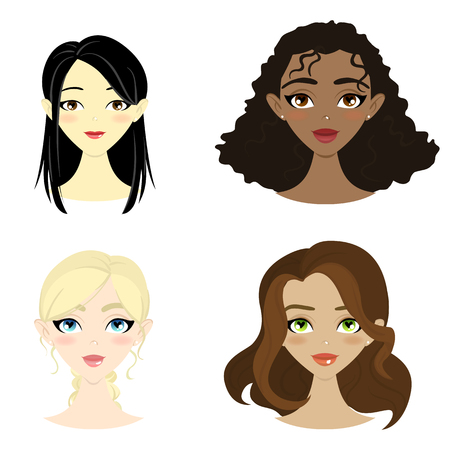 Set of beautiful women of different nation. Vector illustration. Flat design. Ilustração