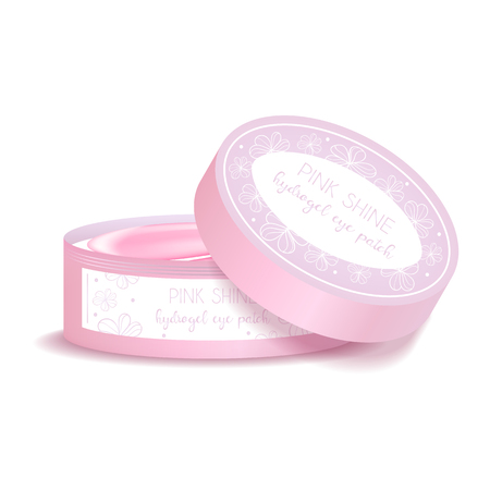 Realistic mockup package, plastic round jar for pink hydrogel eye patch. Isolated vector illustration.