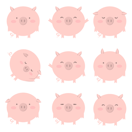 Set of pink pig with different emotions. Vector isolated illustration Vectores