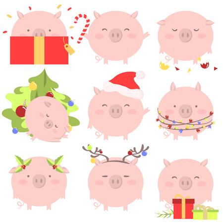 conjunto de 9 símbolos chinos del año de diciembre de diciembre con diferentes formas de vector de ilustración vectorial