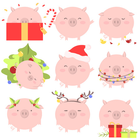 Set of 9 chinese symbol of the 2019 year pig with different emotions. Vector isolated illustration