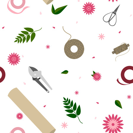 Floral pattern with tools for garden and florist