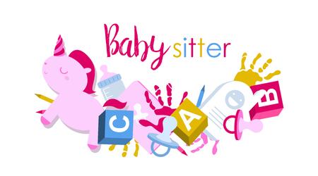 Letrero o logotipo para niñera con juguetes para niños, huellas de manos, chupete y lápices