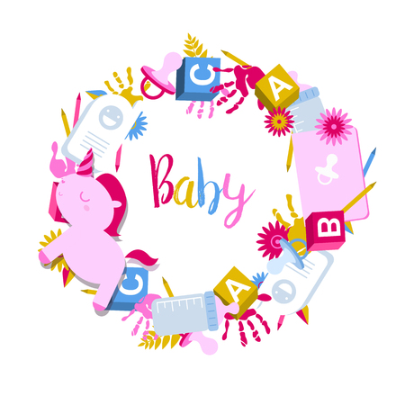 Round, circle frame with kids toys