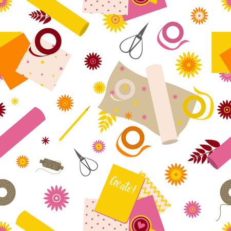 Seamless pattern with scrapbooking tools