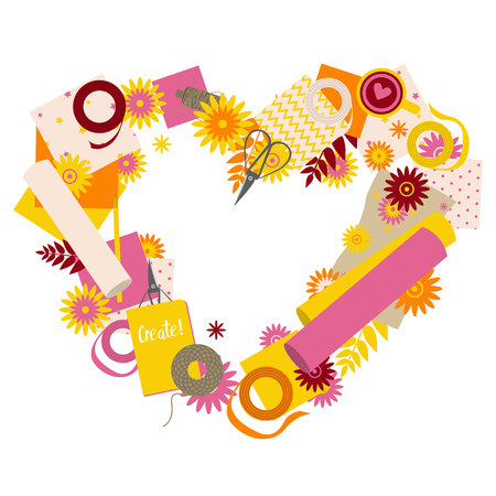 Love heart shape with scrapbooking tools and flowers
