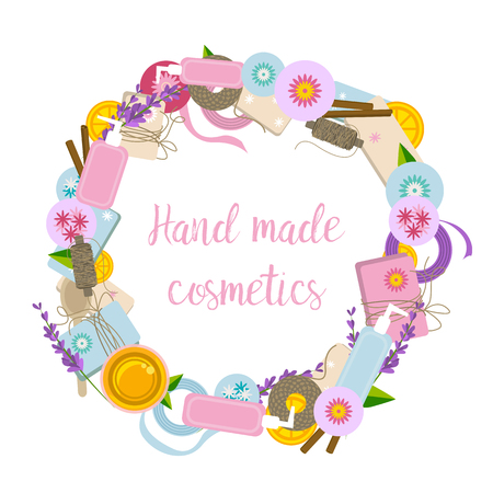 Round frame with ingredients and tools for handmade cosmetics Stock Illustratie