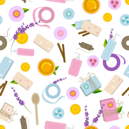 Seamless pattern with ingredients and tools for handmade soap 일러스트