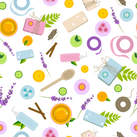 Seamless pattern with ingredients and tools for soap, bath bombs and natural cosmetics making