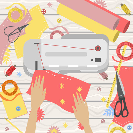 Workplace of seamstress, view from above, desktop, textile, sewing machine, scissors and arms Banque d'images - 102825439