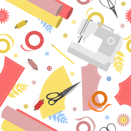 Seamless pattern with textile, sewing machine, scissors, threads and other sewing equipment